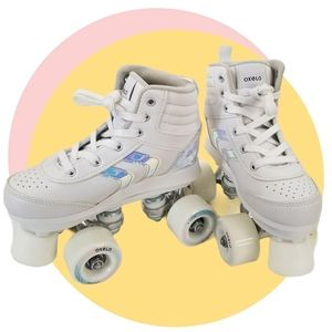 Oxelo JR Quad Roller Skates White Holographic Sz 1